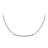 Колье на якорной цепи с дорожкой черных и прозрачных бриллиантов, белое золото