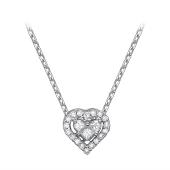 Колье Сердце с бриллиантом из белого золота 585 пробы