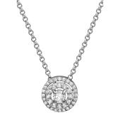 Колье с бриллиантом из белого золота 585 пробы