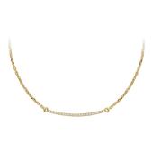 Колье Fashion Story на якорной цепи с дорожкой бриллиантов, желтое золото