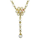 Колье с бриллиантами, жемчугом, изумрудами, желтое золото 750 проба