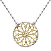 Колье на якорной цепи круглая подвеска с бриллиантами, желтое и белое золото