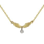 Колье Крылья Ангела с бриллиантовой подвеской, желтое и белое золото