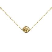 Колье на якорной цепи с подвеской Шар, бриллианты, желтое и белое золото