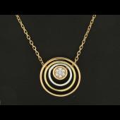 Колье Викс с бриллиантами в центре окружности, красное белое и желтое золото