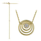 Колье Weeks круглая подвеска с бриллиантами, желтое и белое золото