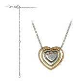 Колье Викс Сердце с бриллиантами, белое, желтое и красное золото