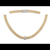 Колье-цепь с бриллиантами, желтое и белое золото