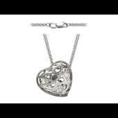 Колье Сердце с бриллиантами, белое золото 750 проба