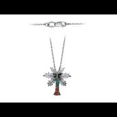 Колье декоративное Пальма, бриллианты, драгоценные камни, белое золото 750 пробы