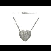 """Колье на якорной цепи крупное """"Сердце"""", бриллианты, белое золото 750 пробы"""