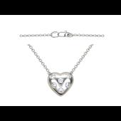 """Колье на якорной цепи """"Сердце"""", бриллианты в сердце, белое золото 750 пробы"""