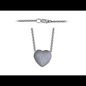 """Колье на якорной цепи """"Сердце"""", бриллианты, белое золото 750 пробы"""