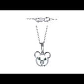 Колье Мишка с бриллиантом и тсаворитами, белое золото