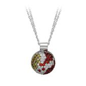 """Колье на двойной цепи """"Медальон Шар"""", бриллианты, сапфиры, белое золото 750 пробы"""