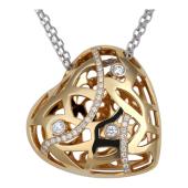 Колье Bellagio Сердце с бриллиантами, белое и желтое золото