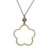 Колье на якорной цепи Цветок, бриллианты, комбинированное золото 750 пробы