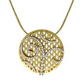 Колье на якорной цепи, круглая подвеска с бриллиантами, желтое и белое золото 750 проба