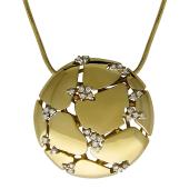 Колье Bellagio с круглой подвеской с бриллиантами на цепочке снейк, комбинированное золото