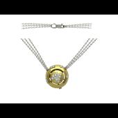 Колье с круглой подвеской с бриллиантами, комбинированное золото