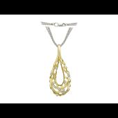 Колье Капля с бриллиантами, комбинированное золото