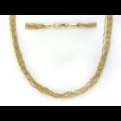 Колье из множества цепочек плетения Сингапур, желтое золото