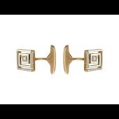 Запонки квадратные с фианитами, красное золото