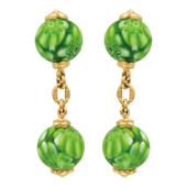 Запонки с двумя шариками из муранского стекла, желтое золото