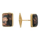 Запонки прямоугольные с Мурано, желтое золото