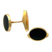 Запонки овальные с ониксом, красное золото