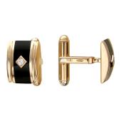 Запонки прямоугольные округлые с ониксом и фианитом, красное золото
