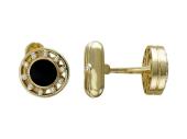 Запонки круглые с ониксом и фианитами, желтое золото