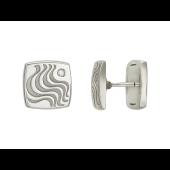 Запонки квадратные с бриллиантом и волнистыми линиями, белое золото