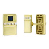 Запанки с квадратным сапфиром и бриллиантами, желтое золото 585 проба