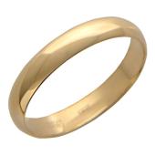 Кольцо обручальное с гладкой шинкой 4мм, красное золото
