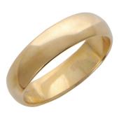 Кольцо обручальное гладкое классическое шинка 5 мм, красное золото