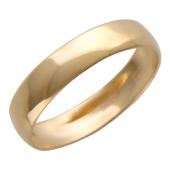 Кольцо обручальное гладкое без вставок, красное золото, 4 мм