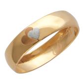 Кольцо обручальное Два сердца с гравировкой Сердце и Ты и Я, красное золото, 585 проба, 4 мм