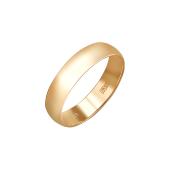 Обручальное кольцо гладкое округлое классическое, красное золото 5мм