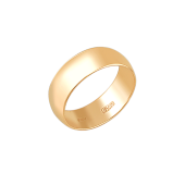 Обручальное кольцо гладкое округлое классическое, красное золото 6мм