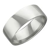 Обручальное кольцо прямое, белое золото 585 проба 6 мм