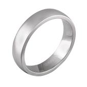 Кольцо обручальное дизайнерское гладкое с широким торцом, белое золото