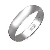 Кольцо обручальное классическое, белое золото 4мм