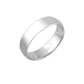 Обручальное кольцо гладкое округлое классическое, белое золото 5мм
