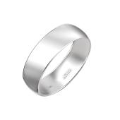 Обручальное кольцо гладкое округлое классическое, белое золото 6мм