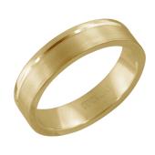 Кольцо обручальное широкое матовое с гладкой канавкой, желтое золото 585 проба