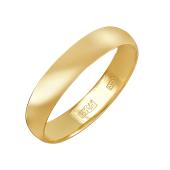 Кольцо обручальное классическое, желтое золото 4мм