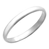Кольцо обручальное классическое гладкое округлое, серебро 2,6мм