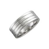 Кольцо обручальное широкое с широким торцом и канавками из серебра