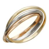 Кольцо обручальное из трех колец, комбинированное золото h=2.1 mm